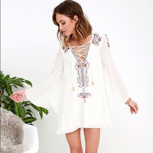 Lulu's My Bell-Loved Ivory Embroidered Shift Dress